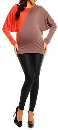 Happy Mama De Las Mujeres Maternidad Elástico Jersey Jersey Batwing parte superior color bloque 104p Coral & Cappucino