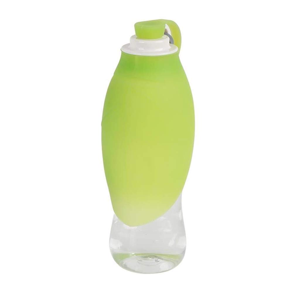 Green PABY Fast and Easy Portable Dog Water Bottle 6 oz Expandable Travel Bowl Free Carabiner Food Grade Silicone (Green)
