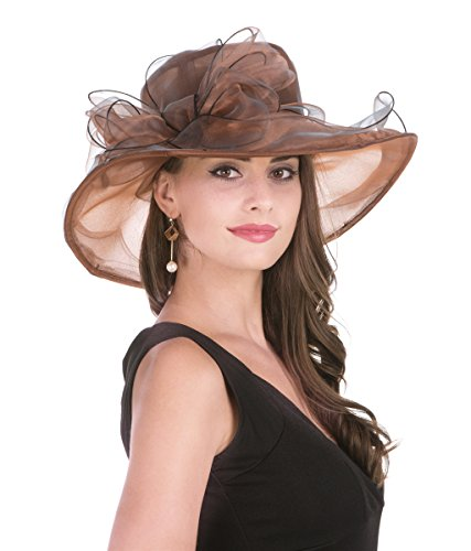 - SAFERIN Women's Organza Church Kentucky Derby Hat Feather Veil Fascinator Bridal Tea Party Wedding Hat (New-Coffee Bow)