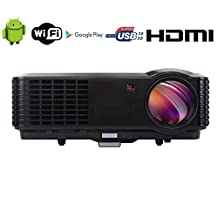FR S86A 3D 4500 Lumen Android WIFI Wireless 1080P FULL HD 1920 x 1080 Home Theater Multimedia USB VGA HDMI LED Projector