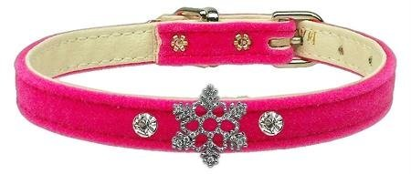 Mirage Pet Products Snowflake Charm Collar for Dogs, 16-Inch, Velvet