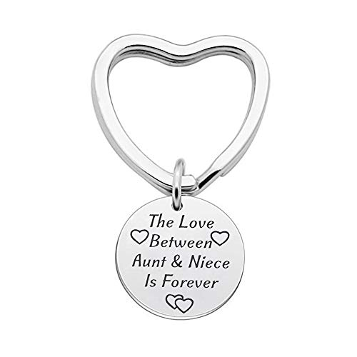 Aunt Niece Gifts Keychain, The Love Between Aunt and Niece is Forever Pendant Keyring Birthday Christmas Gifts