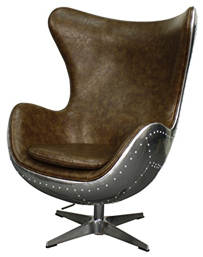 New Pacific Direct Axis PU LeatherAviator Swivel Rocker Chair, Aluminum Frame, Distressed Mocha Brown