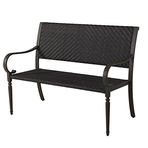 Grand Patio Patterson Wicker Outdoor Bench, Mocha