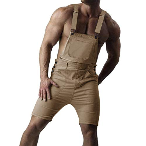 (Karlywindow Mens Bib Overall Shorts Zipper Ripped Waist Lightweigt Workout Shortalls Jumpersuit Romper Khaki)