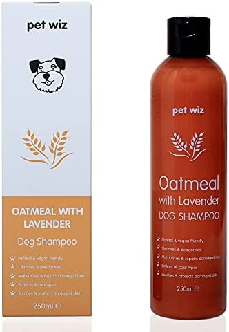 pet wiz Oatmeal with Lavender Dog Shampoo – Natural & Vegan Friendly (250ml ℮)