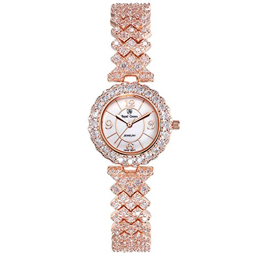 Royal Crown Women's Crystal-Accented Luxury Rose Gold-Tone Bangle Watch Jewelry Series Fashion Waterproof Wrist Watches from Royal Crown