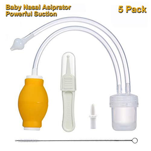 Baby Nasal Aspirator, Snot Sucker & Mucus Sucker, Non-Toxic, Cleanable & Reusable Ear Syringe -Comes with Brush by KINTTO