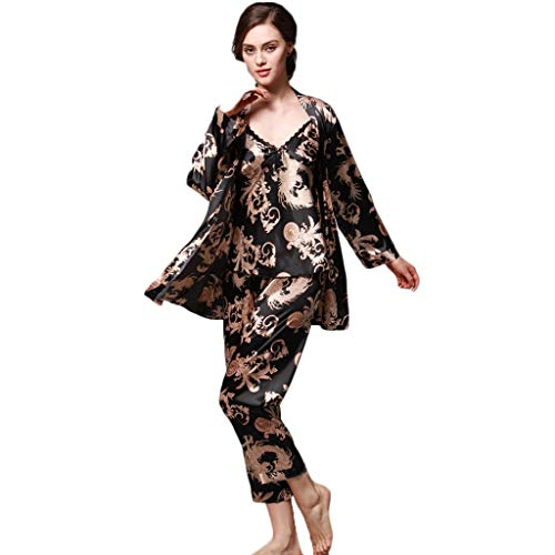 - Zbkdds Women Simulation Silk Print Pajamas for Women for Summer Three-Piece Long-Sleeved Trousers Camisole (BlackXL)