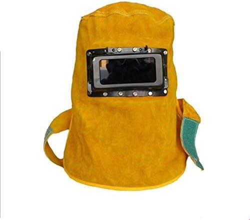 capuchon r/ésistant aux temp/ératures /élev/ées Casque de soudage en cuir respirant casque de soudage poli t/ête de soudage et capuchon de cou r/ésistant /à la poussi/ère avec lunettes