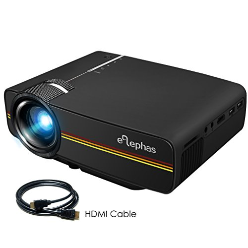 ELEPHAS ELE-YG400B LED Mini Video Projector, With 1200 Luminous Efficiency Support 1080P Portable Pico Projector Ideal for Home Theater Cinema Movie Entertainment Games Parties, Black