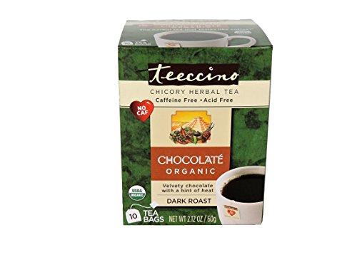 Decaffeinated Herbal Coffee (Teeccino Chocolate Herbal Coffee Alternative Tee-Bags, Caffeine Free, Acid Free, 10 count)