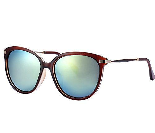 Women's Sunglasses UV Protection Polarized eye glasses Goggles UV400 (Tea color frame/Gold lens, As - Pictures Eyeglass Frames Of