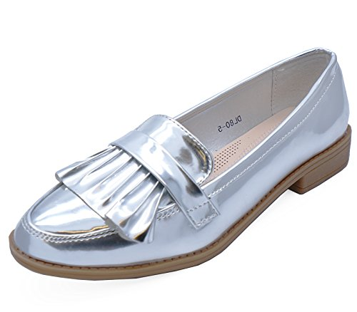 HeelzSoHigh Ladies Silver Slip-on Loafers Smart Casual Work Patent Comfy Shoes Sizes 3-8 f9Exj96