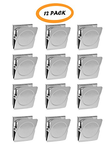 Magnetic Metal Clip, Refrigerator Whiteboard Wall Memo Note Clip, Square, Sturdy Tight Grip - 12 PACK (Small (1.5 Inch)) (Erase Dry Squares)