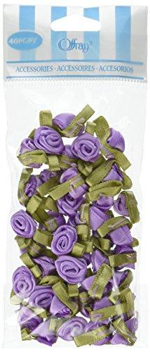 Offray Ribbon Roses-Small 40/Pkg-Light Orchid (Rose Pkg)