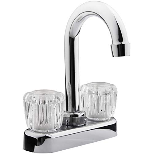 Dura Faucet DF-PB150A-CP RV Bar Faucet with Crystal Acrylic Knobs - 6-inch Spout (Chrome)