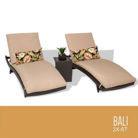 TKC Bali Chaise Lounges Outdoor Wicker Patio Furniture44; Set of 2 Wicker Bali Chaise