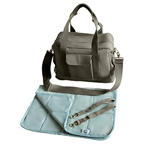 (Organic Canvas Diaper Bag with Stroller Straps & Changing Pad)