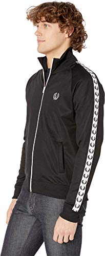 0eabbc2cc Fred Perry Men's Laurel Taped Track Jacket Black 1 X-Large