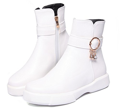 Chaussures Aisun Femme Boots Blanc Bottines Rangers Mode Strass Plates Low UP6OTPRW