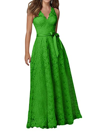 Kleider Spitze rpe Bowknot reizvolle HWAN Abend Gr¨¹n Abschlussball V Frauen Sch Kleid mit Lange einfacher Ausschnitt UBIwppO8xq