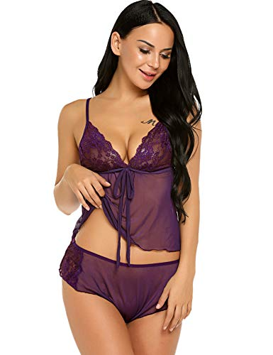 Avidlove Women's Mesh Babydoll Lingerie Sleepwear Cami and Shorts Pajama Set Purple L