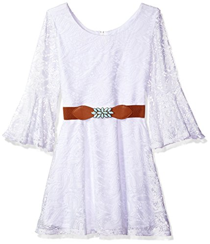 Amy Byer Belt (Amy Byer Big Girls' Bell Sleeve Lace Dress with Belt, White, 8)