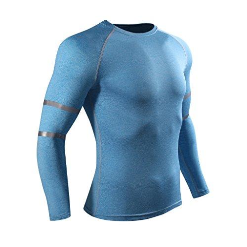 ADHEMAR Men's Elastic Shirt Thermal Compression Base Layer Slim Long Sleeve Muscle T-Shirt Blue - Running Team Shirts Custom
