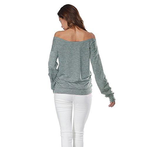 Grand Shirt Pulls T Sweat Paule Sweatshirt Aelegant Dcollet Tops Gris Nu Longues Blouses Pullover Manches Lvres Chandail IpqUx8g