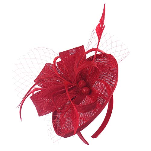 Felizhouse Fascinator Hats for Women Ladies Feather Cocktail Party Hats Bridal Headpieces Kentucky Derby Ascot Fascinator Headband (#2 Cambric -
