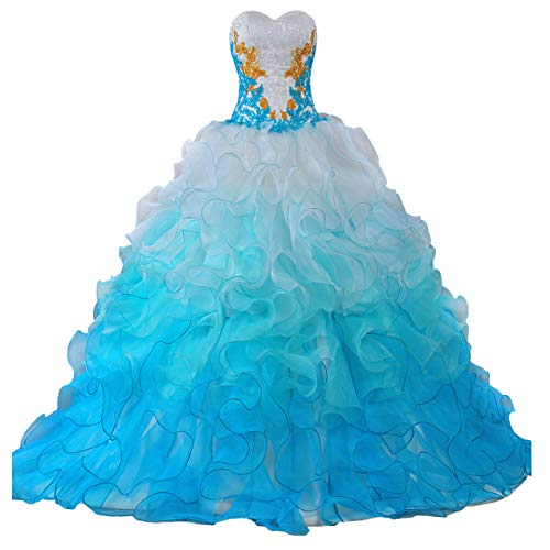 ANTS Women's Formal Quinceanera Dresses 2016 Ruffle Prom Evening Gowns Size 2 US Blue White