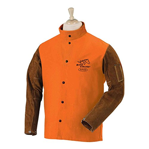 Black Stallion FO9-30C/BS Hybrid FR Cotton/Cowhide Welding Jacket, - Hybrid Jackets Welding