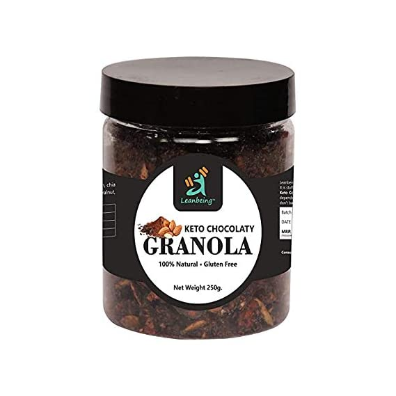 Leanbeing Keto Chocolaty Almond Granola 250G | Low Carb Cereal, Gluten & Grain Free- Low Fat, High Protein Keto Cereals
