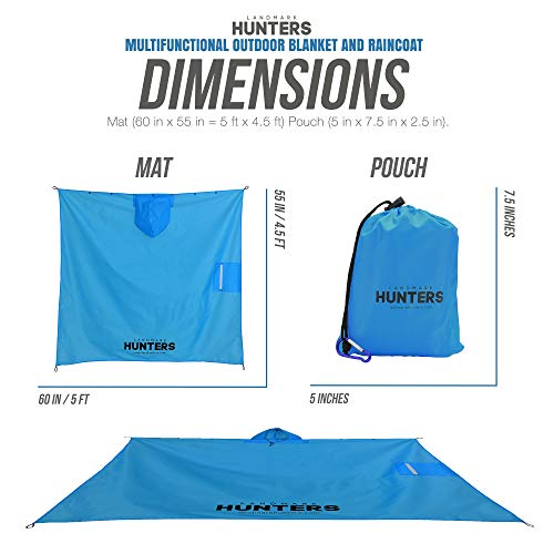 Outdoor Beach Picnic Blanket and Raincoat - For Hiking, Camping & Travel- Mat includes Raincoat Poncho hood with front buttons, zip pocket and 4 anchors- waterproof, Sandproof, portable 60X55in