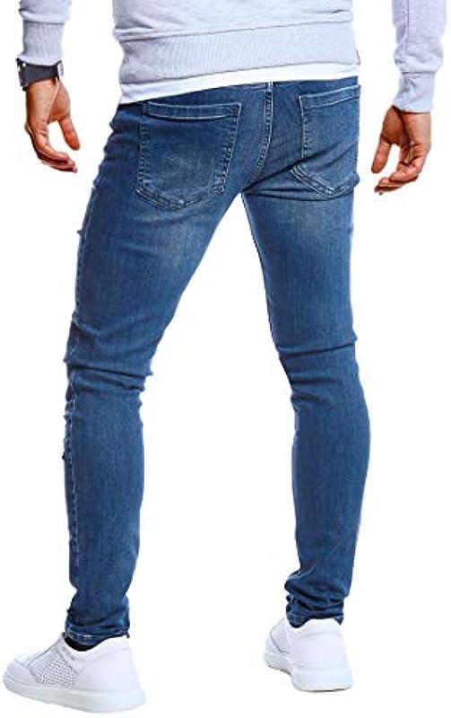 Leif Nelson Męskie dżinsy Slim Fit Denim niebieskie długie spodnie jeansowe dla mężczyzn chłopcÓw białe spodnie cargo chino lato zima Basic LN5419: Odzież