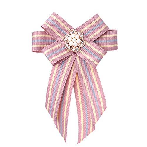Vpang Crystal Pearl Flower Bow Brooch Pre-Tied Neck Tie Brooch Pin Striped Ribbon Bow Tie for Women Wedding Party Bow Tie (Pink) ()