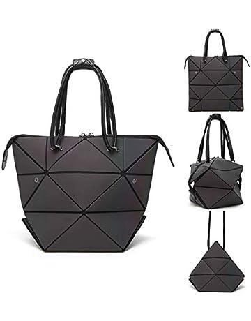 b89a76601a4f Geometric Luminous Purse Tote Bag Holographic Backpack Top-Handle Shoulder  Handbags Messenger Bag