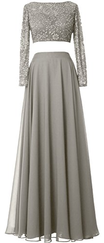 MACloth Formal Dress 2 Chiffon Piece Sleeve Prom Long Gown Lace Silber Gorgeous Evening rgzxr