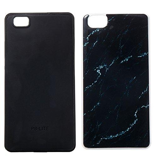 GR Para Huawei P8 Lite Híbrido a prueba de golpes Funda protectora estuche rígido Piel Marble Stone PC y TPU ( Color : Pink ) Black