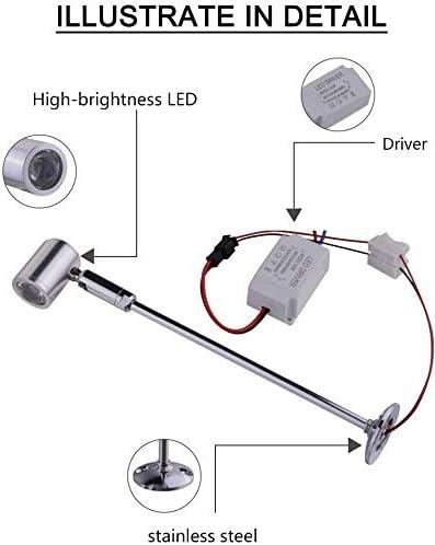 INHDBOX 2er 3W Steckbare Vitrinenleuchte Mini Spot Scheinwerfer Beleuchtung LED Mini Spotlight Lampe 21cm Warmwei/ß LED on Top mit Dreh und Schwenkbaren Spot Stehleuchte f/ür Displaybeleuchtung