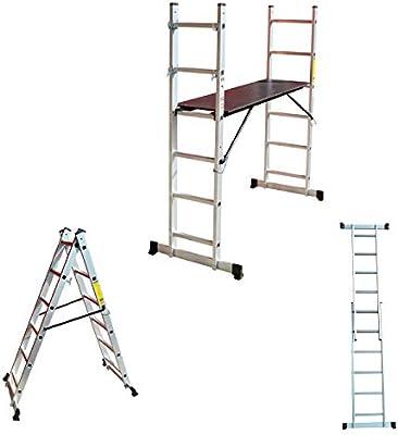 Aluminio Multi Andamio multifunción Escalera escalera escalera – Escalera Plataforma: Amazon.es: Bricolaje y herramientas