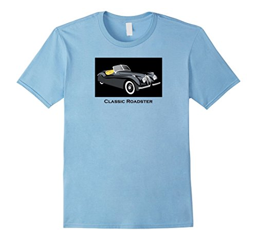 Mens Classic Roadster Sports Car Circa 1950s T-shirt XL Baby Blue - Blue Roadster Car