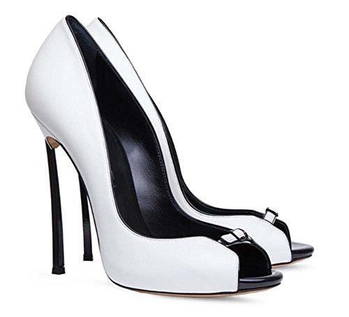 Chaussures Pur De Cour Taille Robe Chaussures Couleur Mariage Toe 12 Eu Escarpins 43 Stiletto Femmes Boucle 5cm Ceinture Peep Pompe 34 De Blanc Charme ZwCqOv