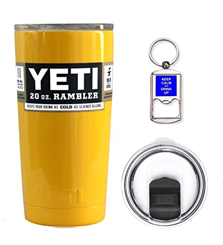 YETI Coolers Custom Color Powder Coated 20 Ounce (20oz) (20 oz) Rambler Tumbler Cup Mug Bundle with New Magslider Spill Proof Lid (Yellow)