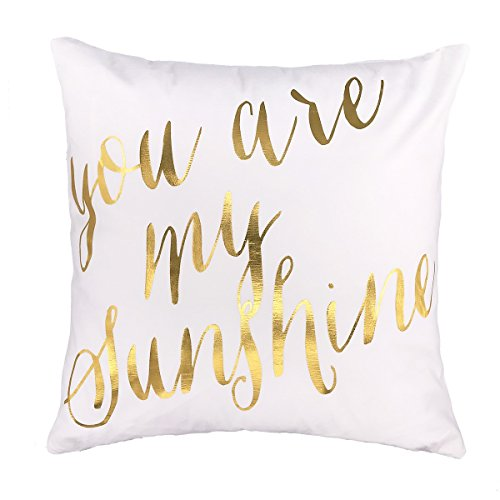 4TH Emotion Gold You are My Sunshine Love Throw Pillow Case Cushion Cover Cotton Polyester 18 x 18 Inch Valentine's Day Home Decoration (Gold White Pillow)