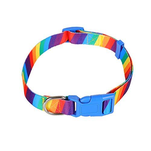 WPNF Comfortable Padded Dog Collar Printed Patterns Adjustable for Dogs, Adjustable Collars for Dogs (L, Rainbow stripes) - Adjustable Collar Patterns