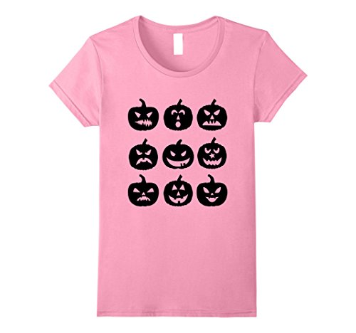 Womens Scary Black Pumpkins Happy Halloween Tees - Spooky Tshirt Small Pink