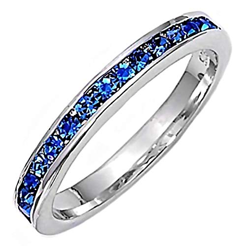 1000 Jewels Sabrina: 0.96ct Simulated Sapphire Stackable Eternity Band Ring 925 Sterling Silver, 3289A sz 10.0 from 1000 Jewels
