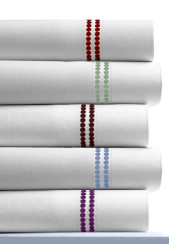 Dot Embroidered 400 Thread Count Cotton Deep Pocket Sheet Set Color: Carmine Red, Size: (Dot Embroidered 400 Thread)